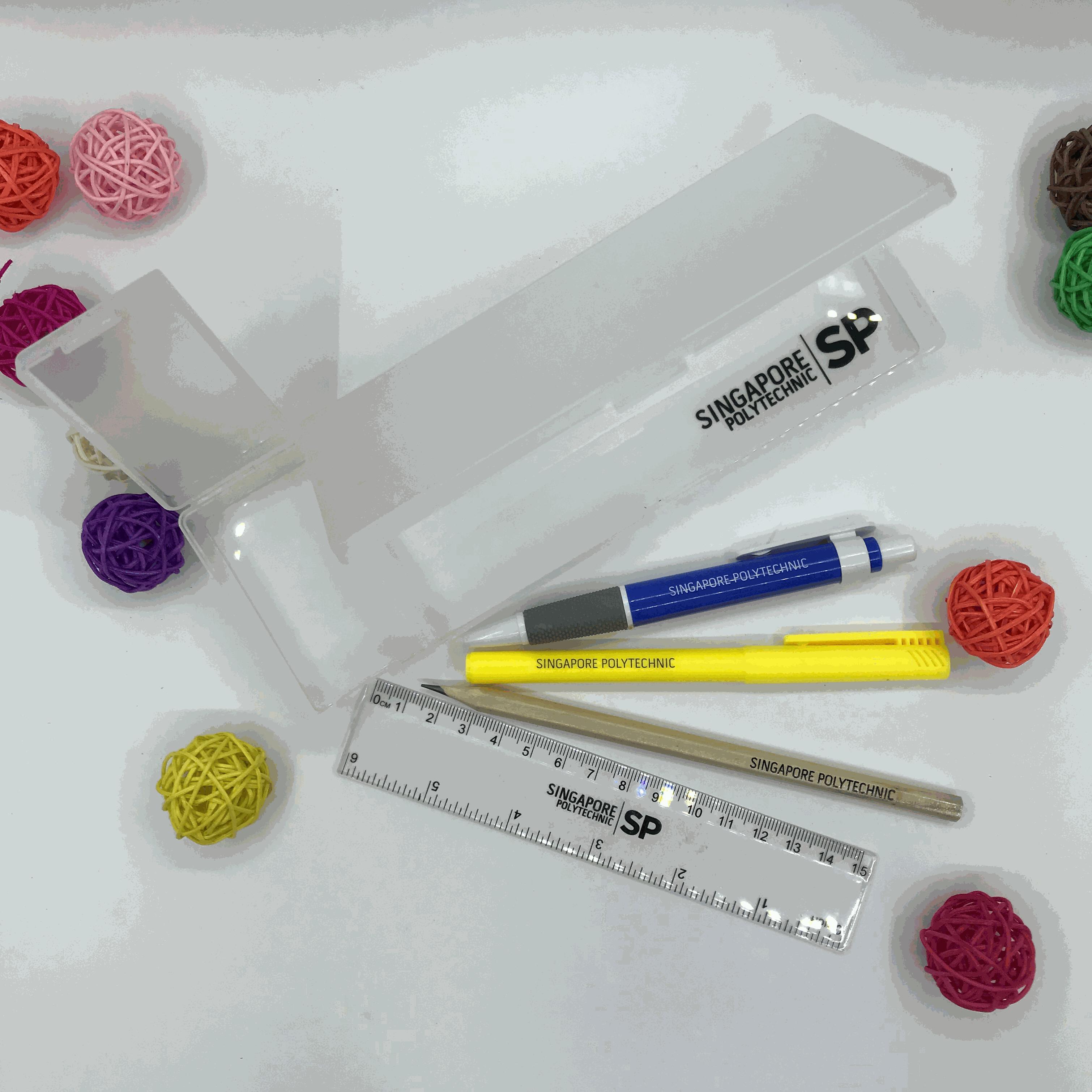 Customised Translucent Pencil Case printing logo singapore corporate gift