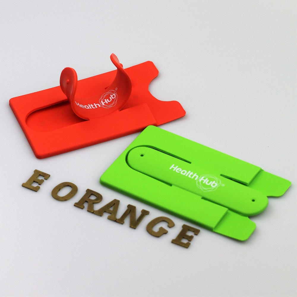 2 in 1 Silicon Phone Stand with Cardholder smart Wallet customised logo print giftaway