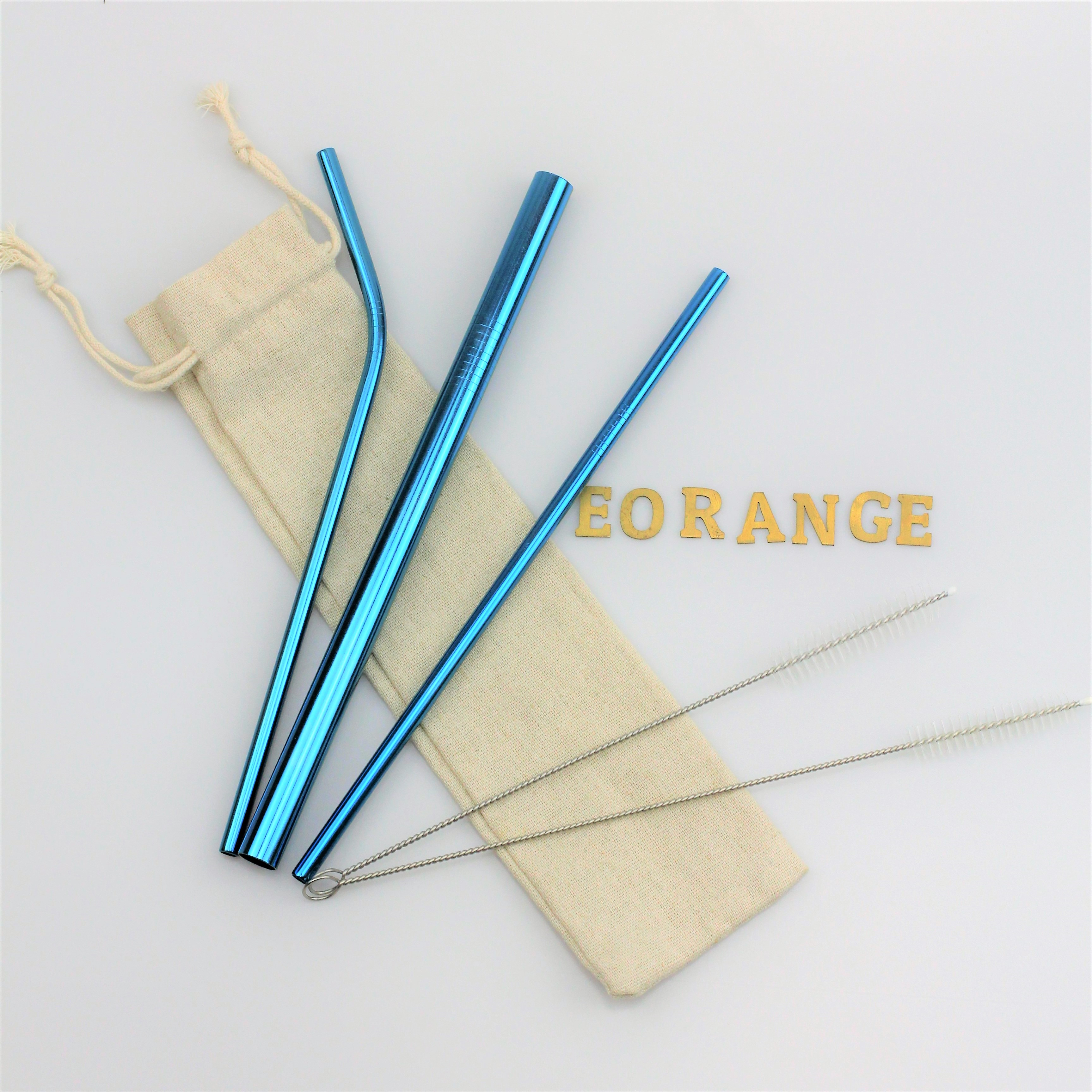 Customise print Reusable Stainless Steel Metal Straw Set logo singapore wholesale bulk eco-freindly