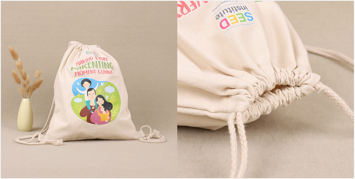 Classic Drawstring Canvas Tote Bag customised logo print singapore corporate gift event