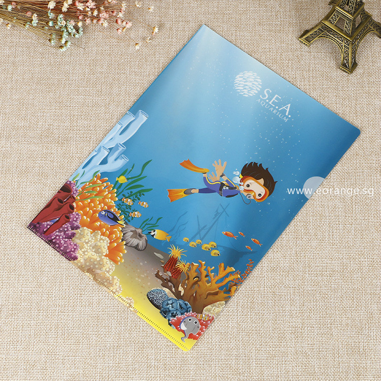 customised customized L-shaped folder file printing logo full color colour corporate gift promotional gift giveaway door wholesale singapore supplier