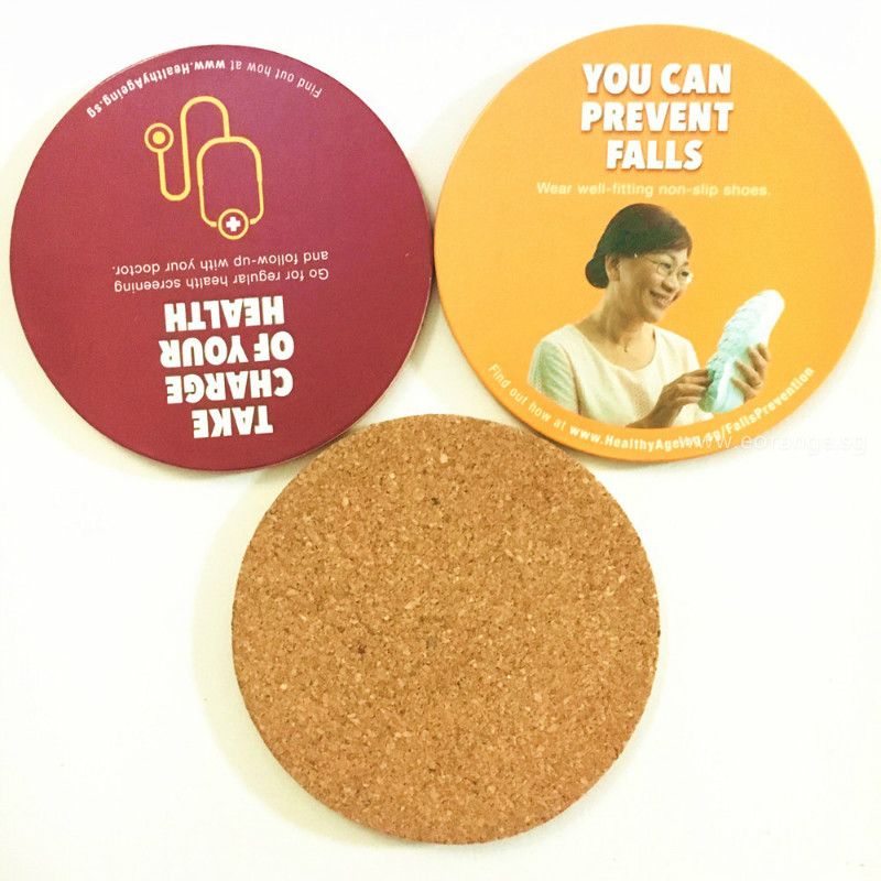 Full color printed Cork coaster customise promotional gift singapore logo  printing