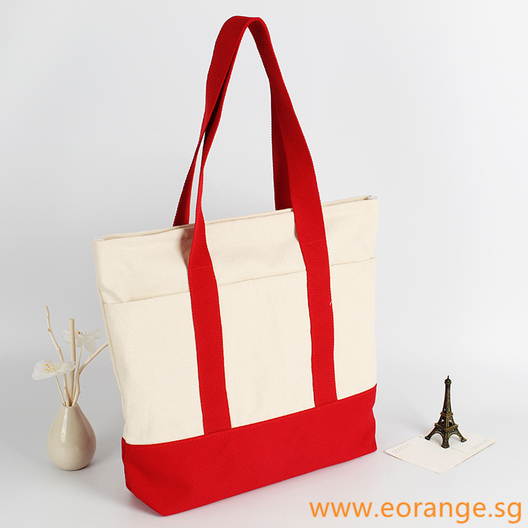 Two-Tone Coloured Canvas Tote Bag