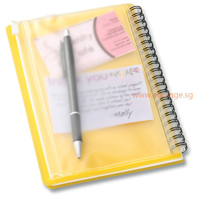 A5 Notebook with PVC Zipper Pocket Sleeve Pouch
